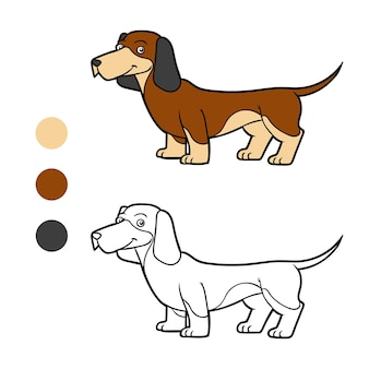 Coloring book for children dog breeds dachshund