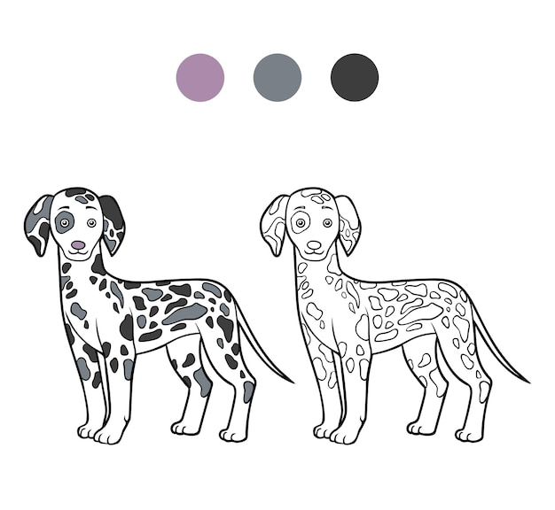 Coloring book for children dog breeds dalmatian
