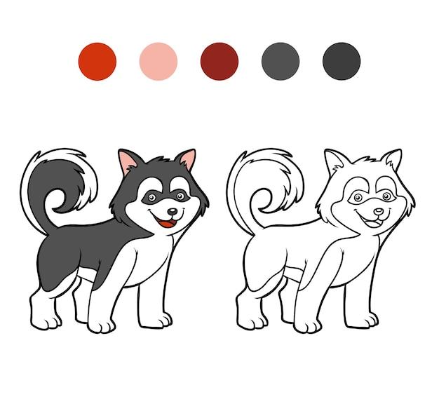 Coloring book for children dog breeds husky