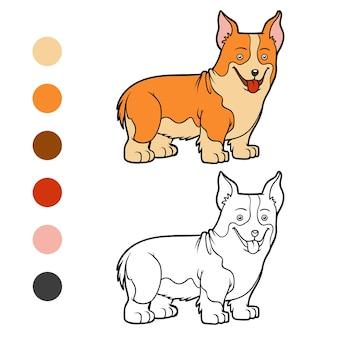 Coloring book for children dog breeds welsh corgi