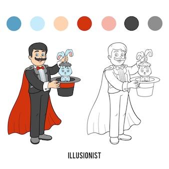 Coloring book for children, illusionist