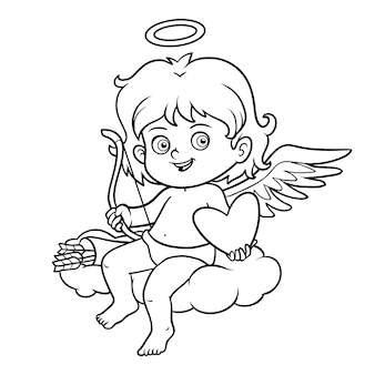Coloring book for children, valentine's day character, angel