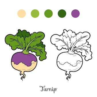 Coloring book for children, vegetables, turnip