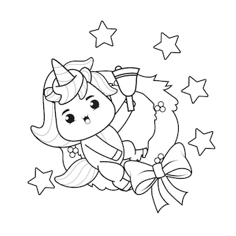 Coloring book christmas day with cute unicorn