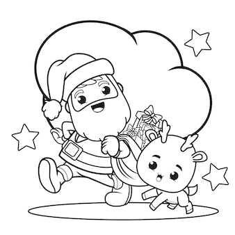 Coloring book christmas day with santa claus and cute deer