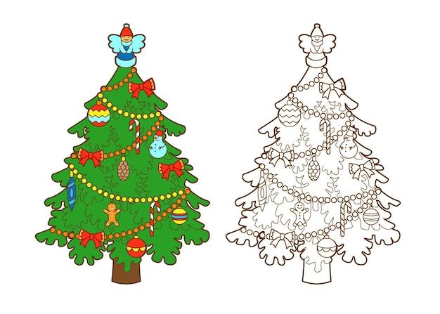 Книжка-раскраска новогодняя украшенная елка с фигуркой ангела на вершине сладости елочные шары вектор