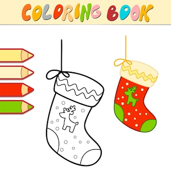 Coloring book or coloring page for kids. christmas sock black and white vector