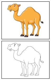 Coloring book cute camel