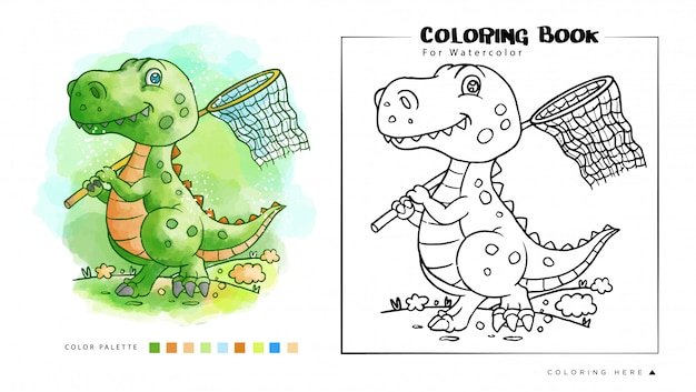 Coloring book of cute dinosaurs playing on the garden watercolor illustration