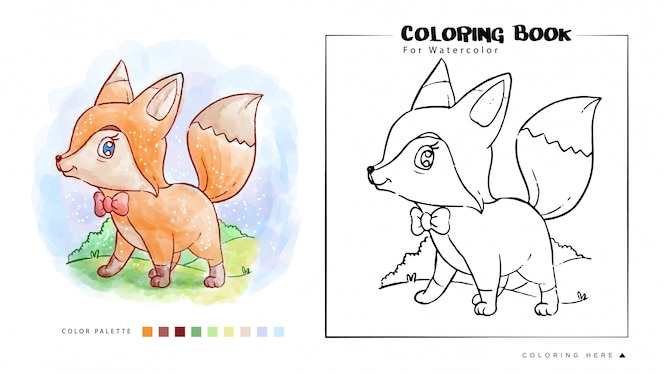 Coloring Book of Cute Fox Stand with Smile Face Watercolor Illustration