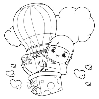 Книжка-раскраска милая девушка держит сердце