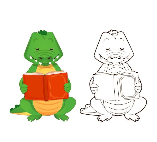 색칠하기 책 귀여운 녹색 악어는 만화 스타일의 책 벡터 일러스트 레이 션을 읽고 있습니다