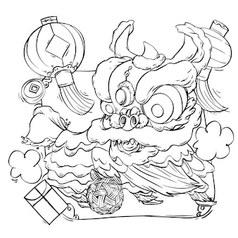 Coloring book of cute lion dance for chinese new year celebration