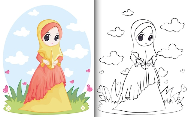 Coloring book of cute muslim character. for preschool education kindergarten and kids and children