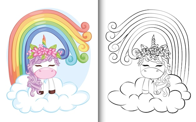 Coloring book cute purple unicorn with rainbow