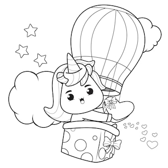 Coloring book cute unicorn for valentine's day illustration