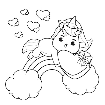 Coloring book cute unicorn for valentine's day illustration