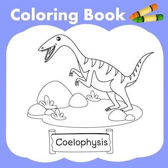 Coloring book dinosaur coelophysis