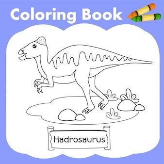Coloring book dinosaur hadrosaurus