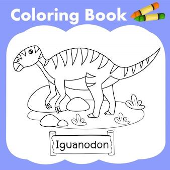 Coloring book dinosaur iguanodon