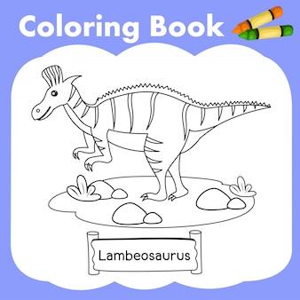Coloring book dinosaur lambeosaurus