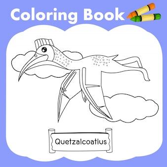 Coloring book dinosaur quetzalcoatlus