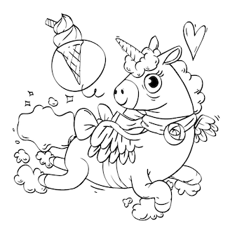 Coloring book of flying cute unicorn
