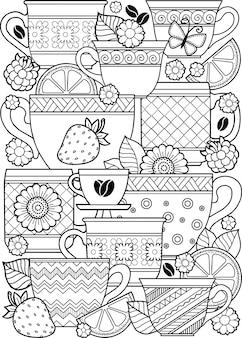 Книжка-раскраска для взрослых. фэнтези каракули цветы и чашка тройника на белом фоне