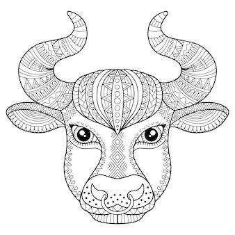 大人のための塗り絵。白い背景の上の雄牛のシルエット。ゾディアックサインおうし座。アニマルプリント。