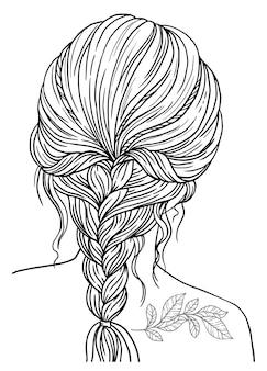 Книжка-раскраска для взрослых. девушка с заплетенной прической. векторное изображение черный контур на белом фоне