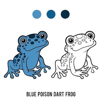 Книжка-раскраска для детей, голубая ядовитая лягушка-дротик