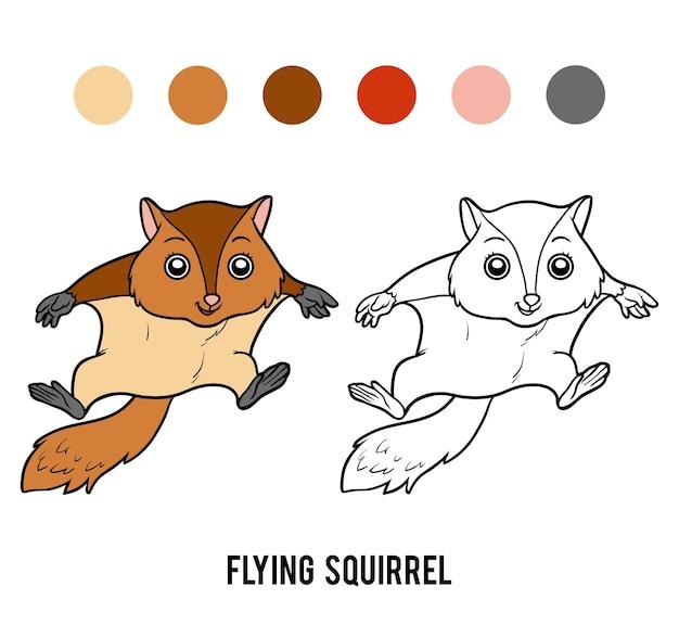 Книжка-раскраска для детей, белка-летяга