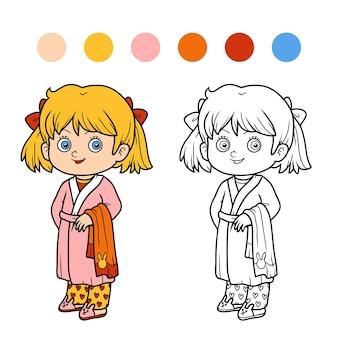 子供のための塗り絵、バスローブを着た女の子
