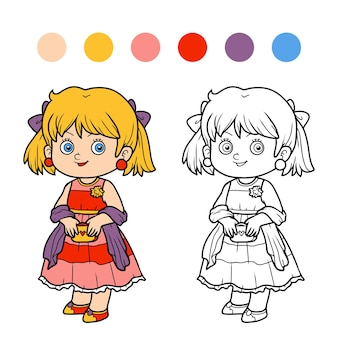 子供のための塗り絵、ドレスを着た女の子