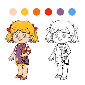 子供のための塗り絵、猫と女の子