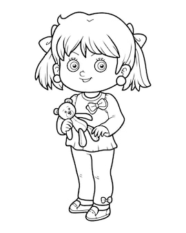 子供のための塗り絵、テディベアの女の子