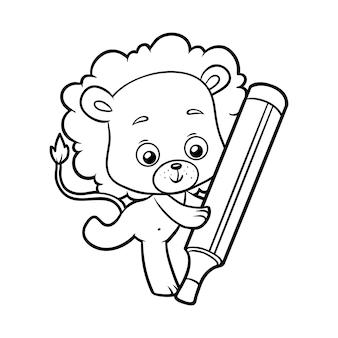 Книжка-раскраска для детей, лев