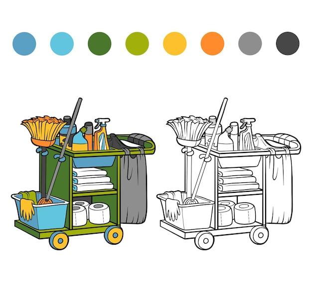 Книжка-раскраска для детей, тележка для горничной