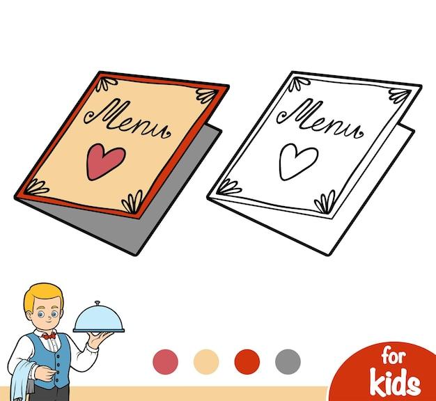 어린이용 색칠하기 책, 메뉴