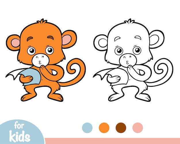 Книжка-раскраска для детей, обезьяна