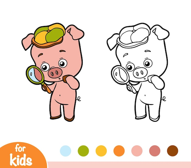 Книжка-раскраска для детей, свинья с лупой