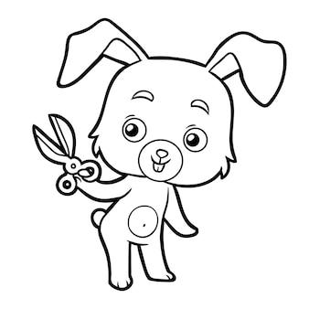 子供、ウサギ、はさみの塗り絵