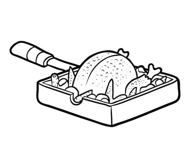 Книжка-раскраска для детей, жареный цыпленок на сковороде