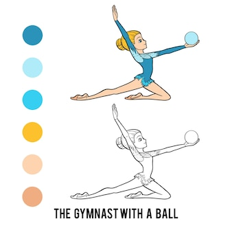 Книжка-раскраска для детей, гимнастка с мячом