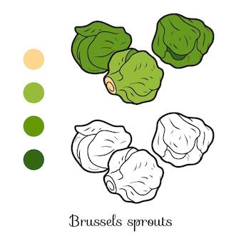 어린이용 색칠하기 책, 야채, 브뤼셀 콩나물