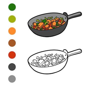 Книжка-раскраска для детей, овощи на сковороде
