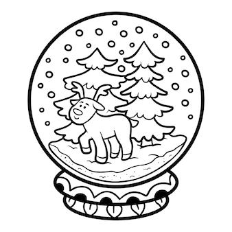 Книжка-раскраска для детей, зимний снежок с оленями