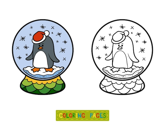 아이들을 위한 색칠하기 책, 펭귄과 겨울 눈덩이
