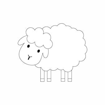 羊の絵が描かれた子供向けの塗り絵。黒の等高線で描かれたram。落書きスタイルのベクトルイラスト。