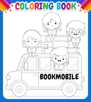 子供のための塗り絵。幸せな子供たちと漫画の移動図書館